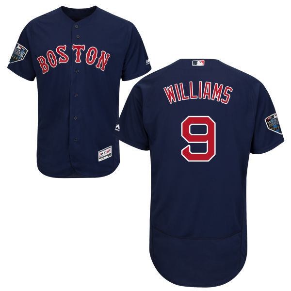 Red Sox #9 Ted Williams Navy Blue Flexbase Authentic Collection 2018 World Series Stitched MLB Jersey