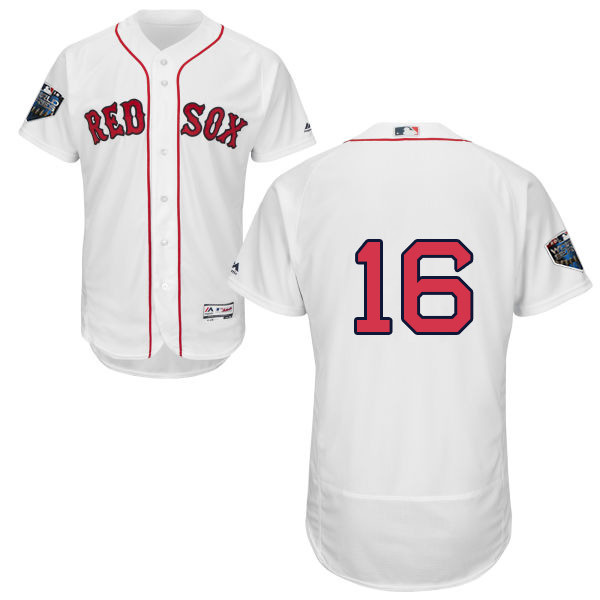 Red Sox #16 Andrew Benintendi White Flexbase Authentic Collection 2018 World Series Stitched MLB Jersey