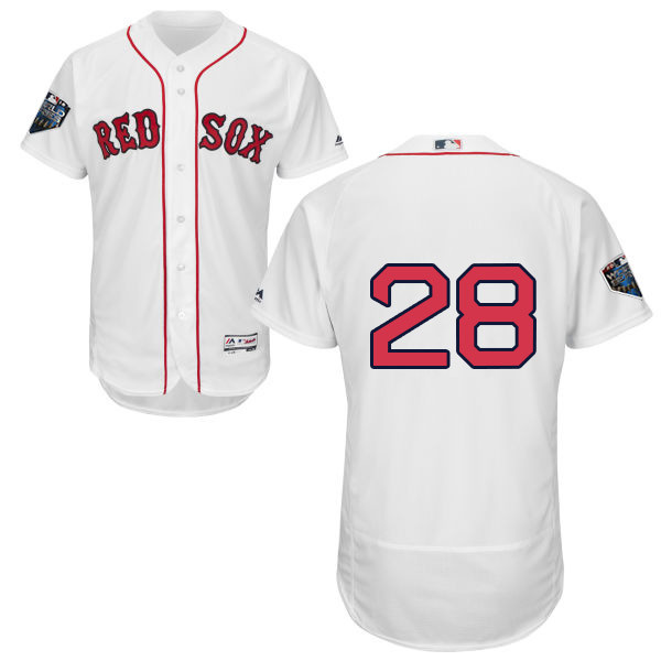 Red Sox #28 J. D. Martinez White Flexbase Authentic Collection 2018 World Series Stitched MLB Jersey