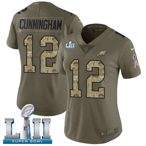 Women's Nike Philadelphia Eagles #12 Randall Cunningham Olive Camo Super Bowl LII Stitched NFL Limited 2017 Salute to Service Jersey