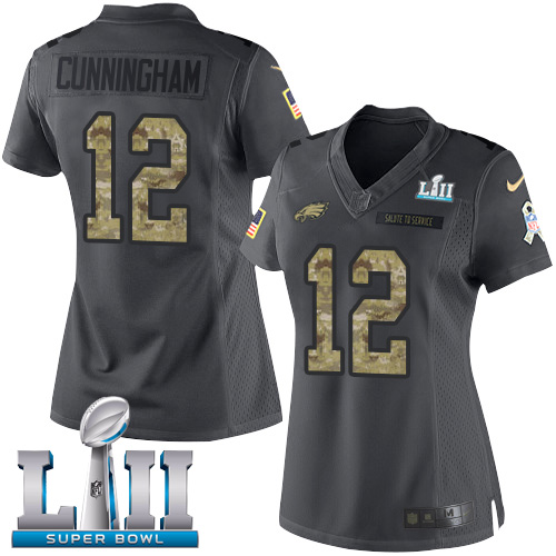 Women's Nike Philadelphia Eagles #12 Randall Cunningham Black Super Bowl LII Stitched NFL Limited 2016 Salute to Service Jersey