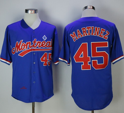 Mitchell And Ness BP Expos #45 Pedro Martinez Blue Throwback Stitched MLB Jersey