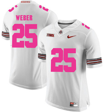 Ohio State Buckeyes 25 Mike Weber White 2018 Breast Cancer Awareness College Football Jersey