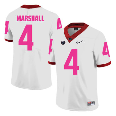 Georgia Bulldogs 4 Keith Marshall White Breast Cancer Awareness College Football Jersey