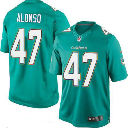 Men's Miami Dolphins #47 Kiko Alonso Green Team Color Stitched NFL Nike Game Jersey