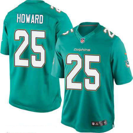 Men's Miami Dolphins #25 Xavien Howard Green Team Color Stitched NFL Nike Game Jersey