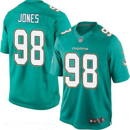 Men's Miami Dolphins #98 Jason Jones Green Team Color Stitched NFL Nike Game Jersey