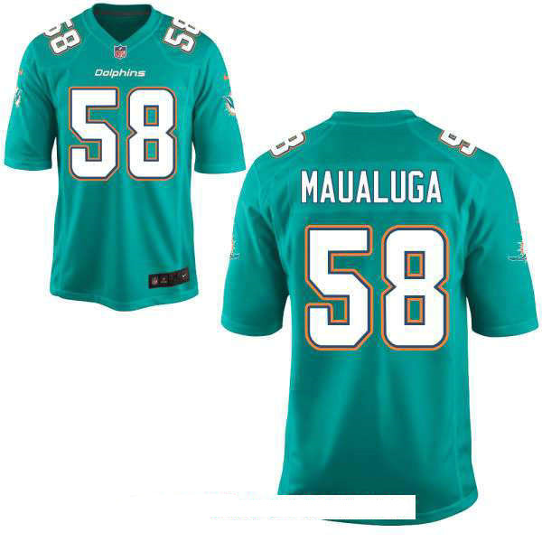 Men's Miami Dolphins #58 Rey Maualuga Green Team Color Stitched NFL Nike Game Jersey