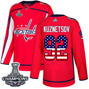 Adidas Washington Capitals #92 Evgeny Kuznetsov Red Home Authentic USA Flag Stanley Cup Final Champions Stitched NHL Jersey