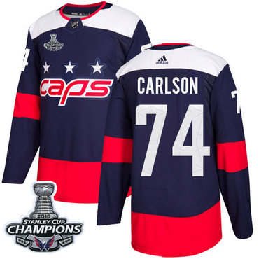 Adidas Washington Capitals #74 John Carlson Navy Authentic 2018 Stadium Series Stanley Cup Final Champions Stitched NHL Jersey