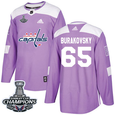 Adidas Washington Capitals #65 Andre Burakovsky Purple Authentic Fights Cancer Stanley Cup Final Champions Stitched NHL Jersey