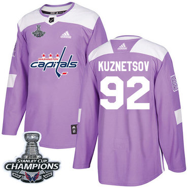 Adidas Washington Capitals #92 Evgeny Kuznetsov Purple Authentic Fights Cancer Stanley Cup Final Champions Stitched NHL Jersey