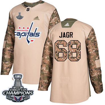 Adidas Washington Capitals #68 Jaromir Jagr Camo Authentic 2017 Veterans Day Stanley Cup Final Champions Stitched NHL Jersey