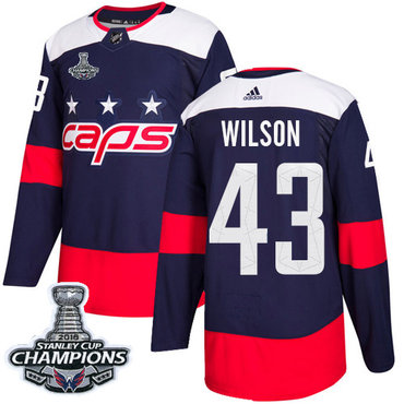Adidas Washington Capitals #43 Tom Wilson Navy Authentic 2018 Stadium Series Stanley Cup Final Champions Stitched NHL Jersey