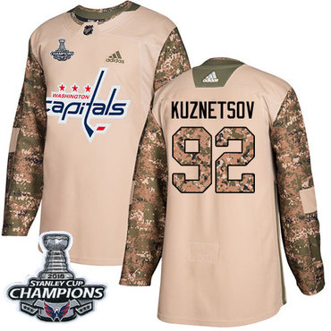 Adidas Washington Capitals #92 Evgeny Kuznetsov Camo Authentic 2017 Veterans Day Stanley Cup Final Champions Stitched NHL Jersey