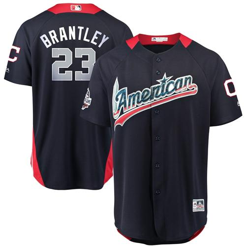 Indians #23 Michael Brantley Navy Blue 2018 All-Star American League Stitched Baseball Jersey