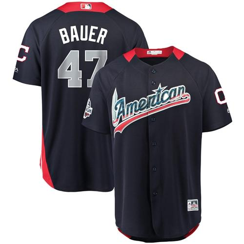 Indians #47 Trevor Bauer Navy Blue 2018 All-Star American League Stitched Baseball Jersey
