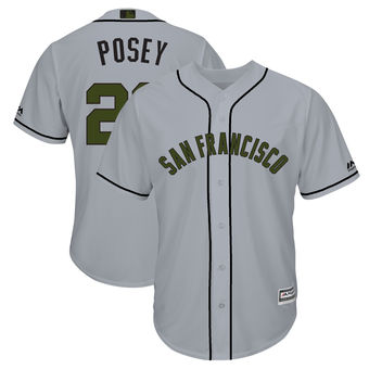 Men's San Francisco Giants 28 Buster Posey Majestic Gray 2018 Memorial Day Cool Base Player Jersey