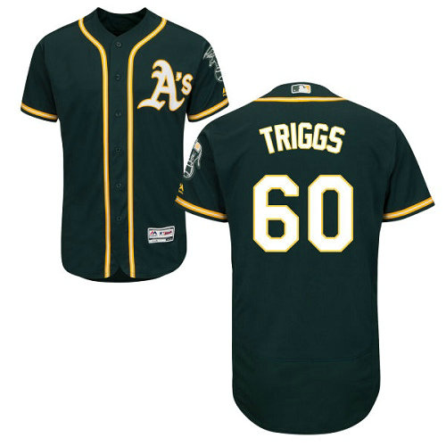 Oakland Athletics 60 Andrew Triggs Green Flexbase Authentic Collection Stitched Baseball Jersey