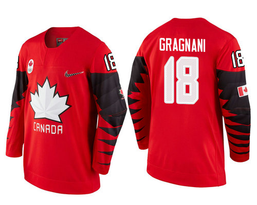 Men Canada Team #18 Marc-Andre Gragnani Red 2018 Winter Olympics Jersey