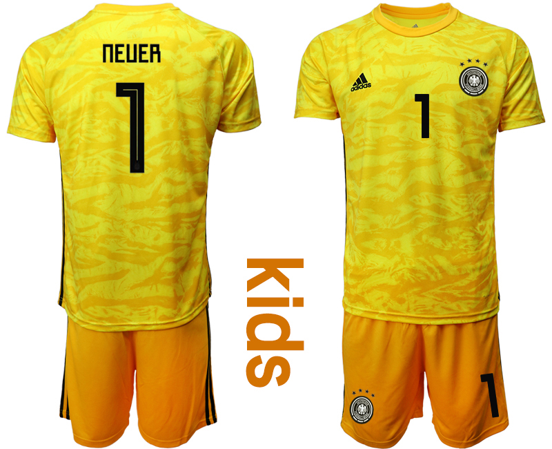 2019-20-Germany-1-NEUER-Yellow-Goalkeeper-Youth-Soccer-Jersey