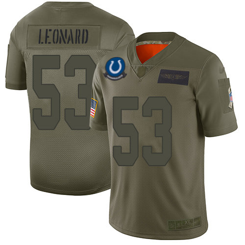 Nike Colts #53 Darius Leonard Camo Men's Stitched NFL Limited 2019 Salute To Service Jersey