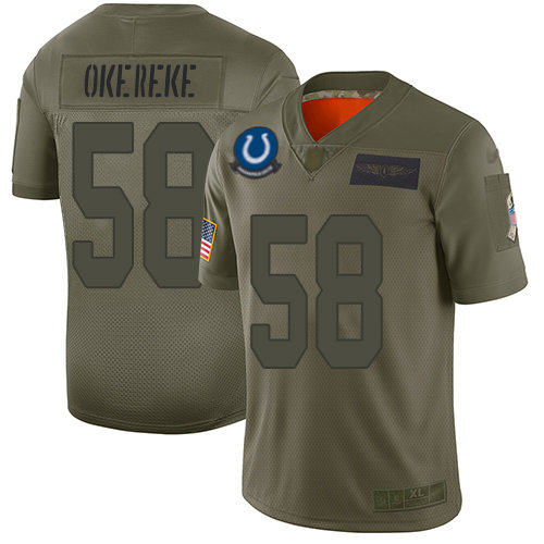 Nike Colts #58 Bobby Okereke Camo Men's Stitched NFL Limited 2019 Salute To Service Jersey