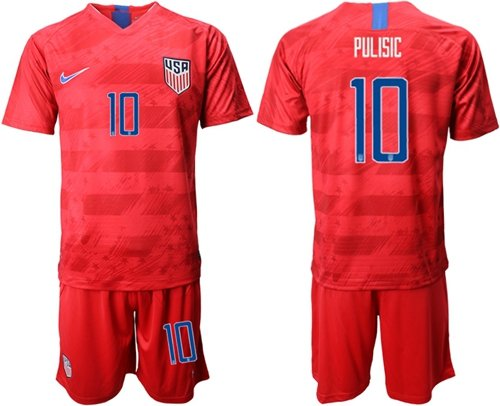 USA #10 Pulisic Away Soccer Country Jersey