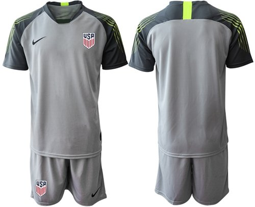 USA Blank Grey Goalkeeper Soccer Country Jersey