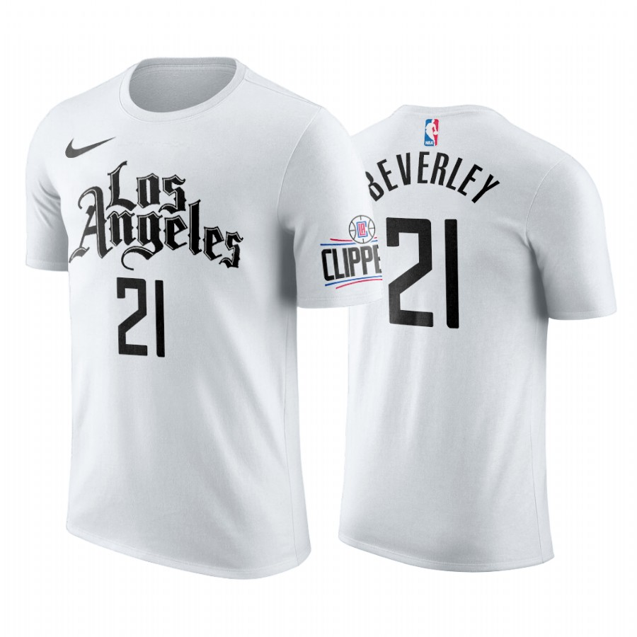 Nike Clippers #21 Patrick Beverley 2019-20 Men's White Los Angeles City Edition NBA T-Shirt