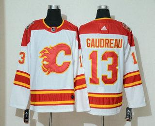 Men's Calgary Flames #13 Johnny Gaudreau White 2019 Heritage Classic Adidas Stitched NHL Jersey