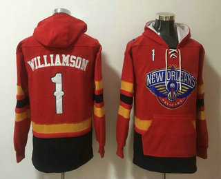 Men's New Orleans Pelicans #1 Winning Williamson NEW Red Pocket Stitched NBA Pullover Hoodie
