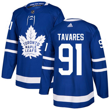 Youth Adidas Maple Leafs #91 John Tavares Blue Home Authentic Stitched NHL Jersey