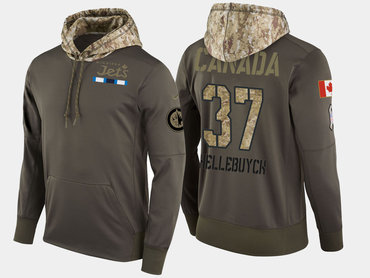 Nike Winnipeg Jets 37 Connor Hellebuyck Olive Salute To Service Pullover Hoodie