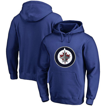 Winnipeg Jets Blue Men's Customized All Stitched Pullover Hoodie