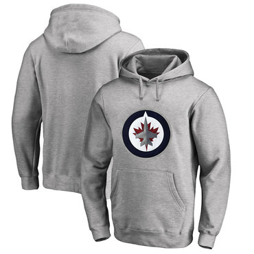 Winnipeg Jets Gray Men's Customized All Stitched Pullover Hoodie
