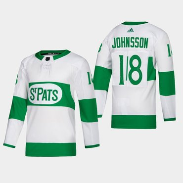 Men's Toronto Maple Leafs #18 Andreas Johnsson St. Pats Road Authentic Player White Jersey