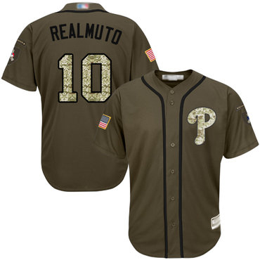 Men's Philadelphia Phillies #10 J. T. Realmuto Green Salute to Service Stitched Baseball Jersey