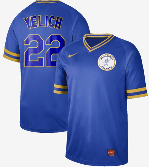 Brewers #22 Christian Yelich Royal Authentic Cooperstown Collection Stitched Baseball Jersey