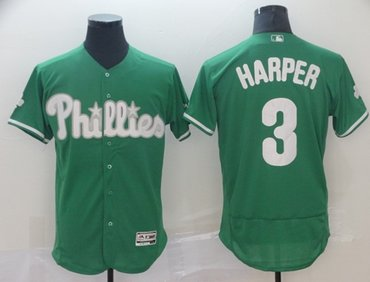 Phillies #3 Bryce Harper Green Flexbase Authentic Collection St. Patrick's Day Stitched Baseball Jersey