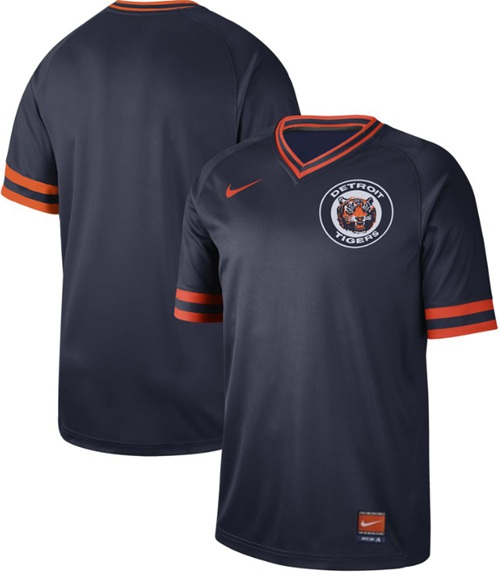 Tigers Blank Navy Authentic Cooperstown Collection Stitched Baseball Jersey