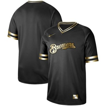 Brewers Blank Black Gold Authentic Stitched Baseball Jersey