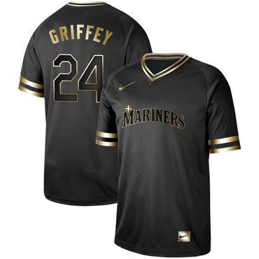Mariners #24 Ken Griffey Black Gold Authentic Stitched Baseball Jersey