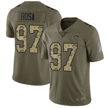 Chargers #97 Joey Bosa Olive Camo Youth Stitched Football Limited 2017 Salute to Service Jersey