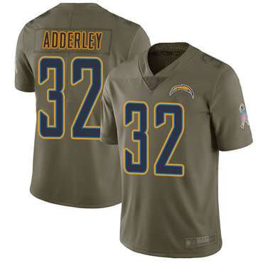 Chargers #32 Nasir Adderley Olive Youth Stitched Football Limited 2017 Salute to Service Jersey