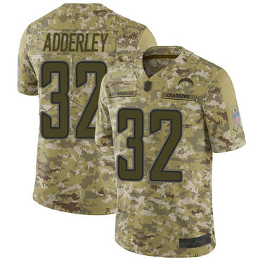 Chargers #32 Nasir Adderley Camo Youth Stitched Football Limited 2018 Salute to Service Jersey