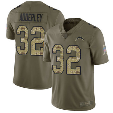 Chargers #32 Nasir Adderley Olive Camo Youth Stitched Football Limited 2017 Salute to Service Jersey