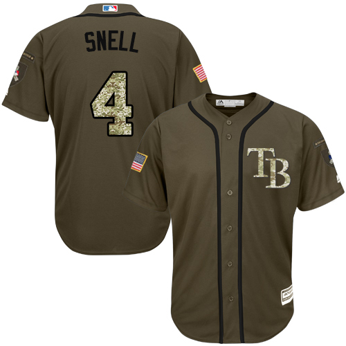 Rays #4 Blake Snell Green Salute to Service Stitched Youth Baseball Jersey