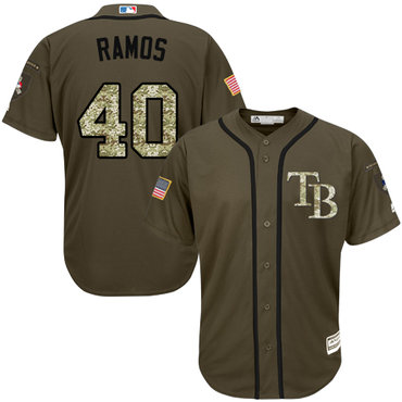 Rays #40 Wilson Ramos Green Salute to Service Stitched Youth Baseball Jersey