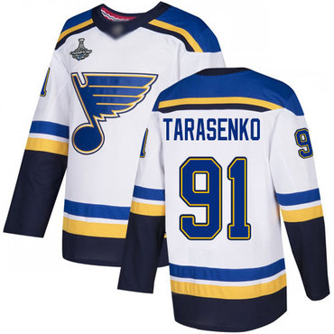 Blues #91 Vladimir Tarasenko White Road Authentic Stanley Cup Champions Stitched Hockey Jersey